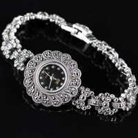 Vintage Thai Zilveren S925 Sterling Zilveren Sieraden Thailand Authentieke Handgemaakte Match Kant Vrouwelijke Retro Horloge Armband