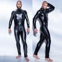 בתוספת גודל 4XL שחור Wetlook בגד גוף מערער בגד גוף חתיכה אחת גברים של גברים Fullbody Perfermance רוכסן קדמי ליל כל הקדושים תלבושות