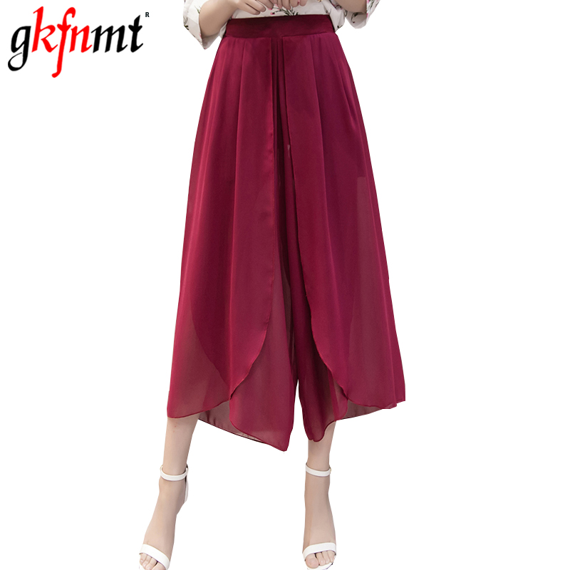 Gkfnmt 2020 Women Casual Loose Warders Wide Leg Palazzo Trousers Stretch Chiffon Pants Summer Ankle Length Pants Plus Size M-5XL