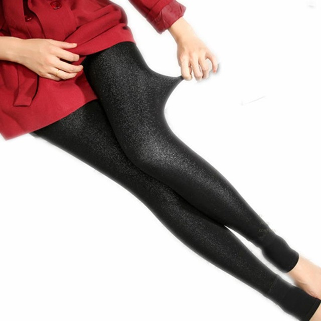 Black Shiny Leggings Thicken New Autumn Winter Women's Warm Pants Step Colorful Shiner Leggings Femme Vogue Black Shiny Leggings