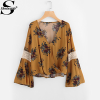 Sheinside Flare Sleeve Random Lace Panel Surplice Blouse 2017 Fall Yellow V Neck Floral Printed Long