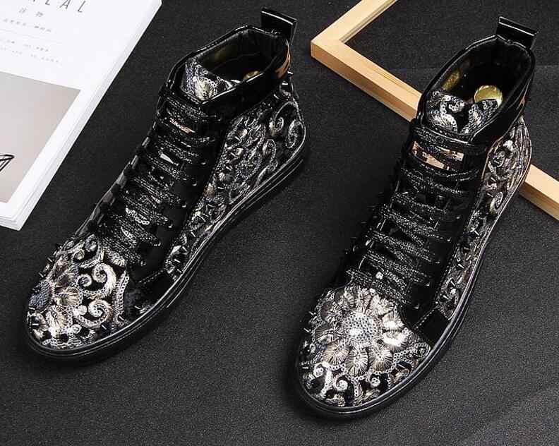 Мужские модные короткие ботинки; сезон весна-осень; синие ботинки в стиле панк с заклепками; мужские кроссовки в стиле хип-хоп; Новое поступление; высококачественные мужские кроссовки