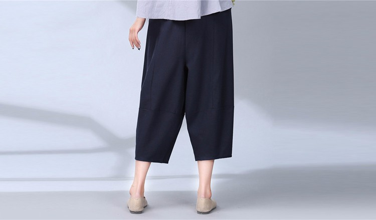 women calf length linen pants wide leg pants elastic waist sport pants casual loose solid trousers for women plus size L-2XL A10 g