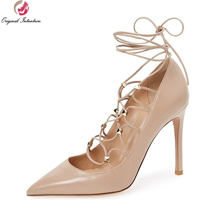 ФОТО Original Intention Fashion Women Pumps Stylish Pointed Toe Thin Heels Pumps Popular Black Nude Red Shoes Woman Plus US Size 4-15