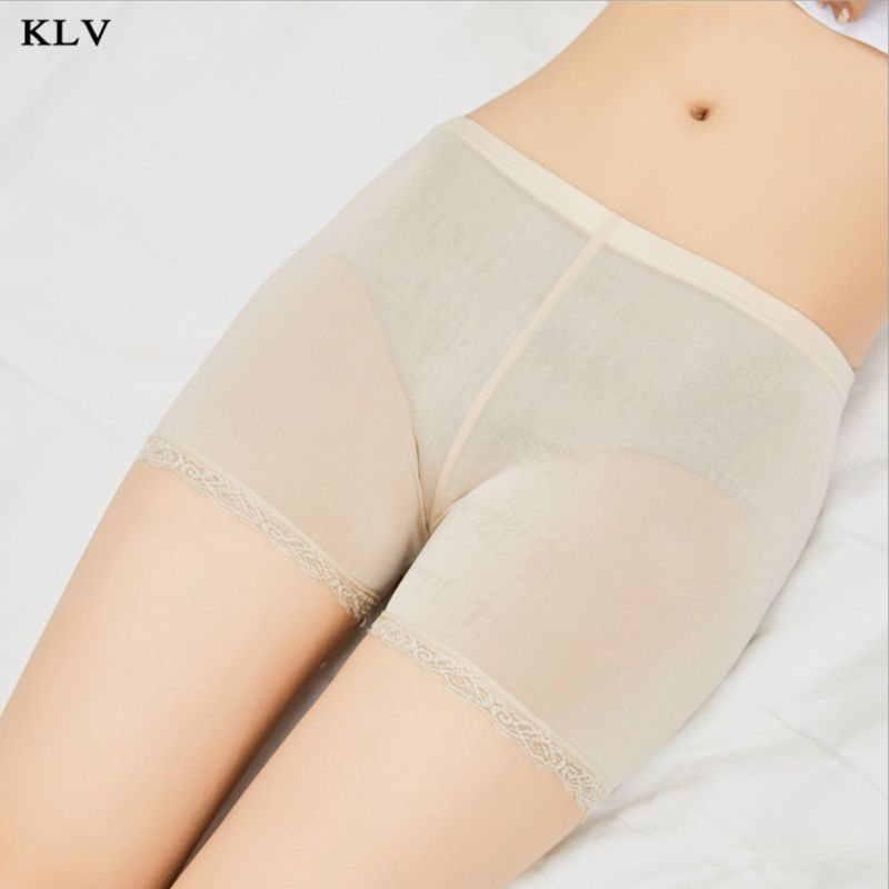 Mulheres Menina do Verão Plus Size Calças de Segurança Cuecas Traceless Guarnição Do Laço Extremidade Plana Cor Sólida Elástico Meados Ascensão Boxer Fina calções