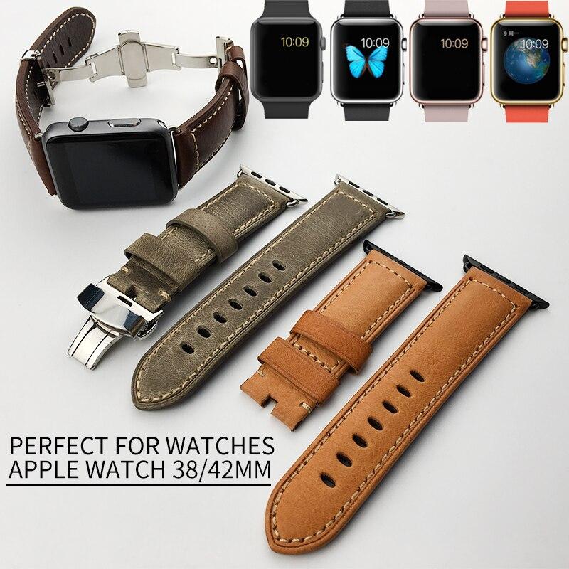Véritable Bracelet En Cuir D'origine Qualité Apple Montre Bande 42mm 38mm Remplacement Poignet Bandes Spécial pour iWatch Bracelet