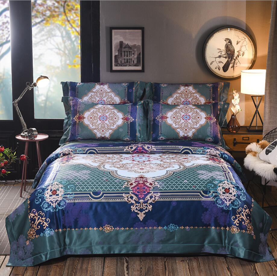 2019 Jacquard Satin Wedding Bedding set Luxury 4Pcs King Queen size Bohemia Duvet cover Bedspread Bedsheet Pillow shams Cotton2019 Jacquard Satin Wedding Bedding set Luxury 4Pcs King Queen size Bohemia Duvet cover Bedspread Bedsheet Pillow shams Cotton