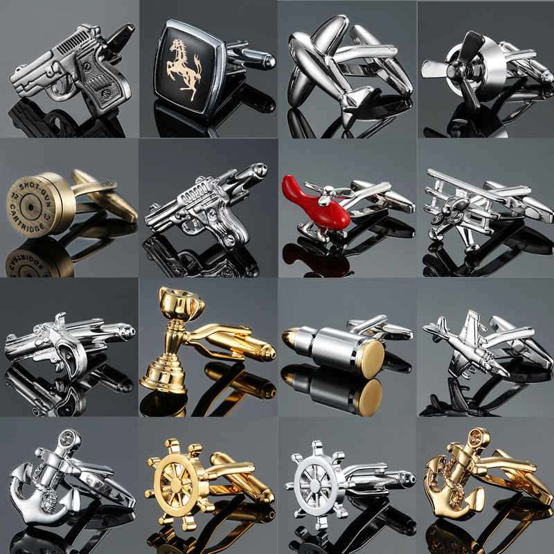 Brand new Fashion design men's French shirt Cufflinks button gold silver anchor rudder pistol bullet aircraft modeling Cufflinks(China)