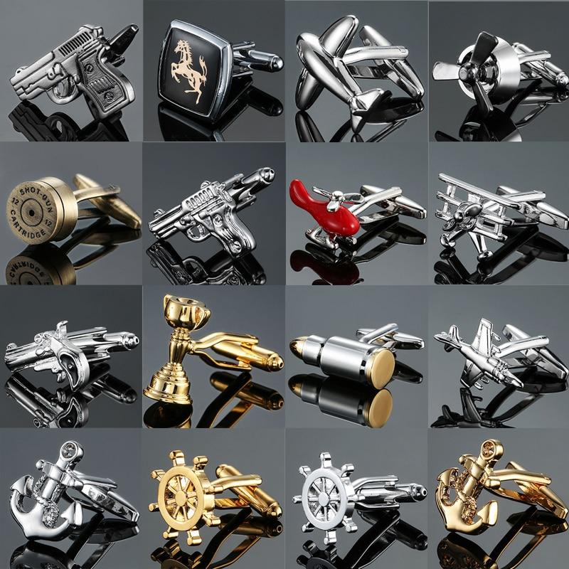 חדש לגמרי אופנה עיצוב גברים של צרפתית חולצה חפתים כפתור זהב כסף עוגן הגה אקדח מטוסי כדור דוגמנות חפתים
