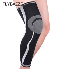 FLYBAZZZ Four-way Elastic Striped Knitting Leg Protect Running Cycling Long Leggings Knee Pads Support Brace Protection 1pcs