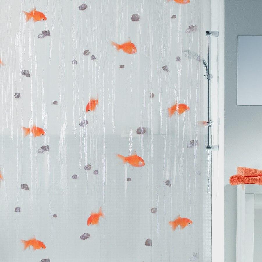 180*200cm PVC Transparent Goldfish play Stone Bathroom shower ...