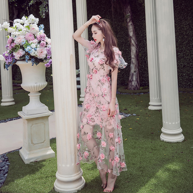 2017 Summer Free Shipping New Elegant Handmade Embroidery Flower Perspective 3D Woman <font><b>Dress</b></font> <font><b>Pink</b></font> V-neck <font><b>Dress</b></font> for Female