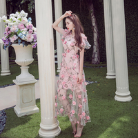 2016 Summer Free Shipping New Elegant Handmade Embroidery Flower Perspective 3D Woman Dress Pink V Neck