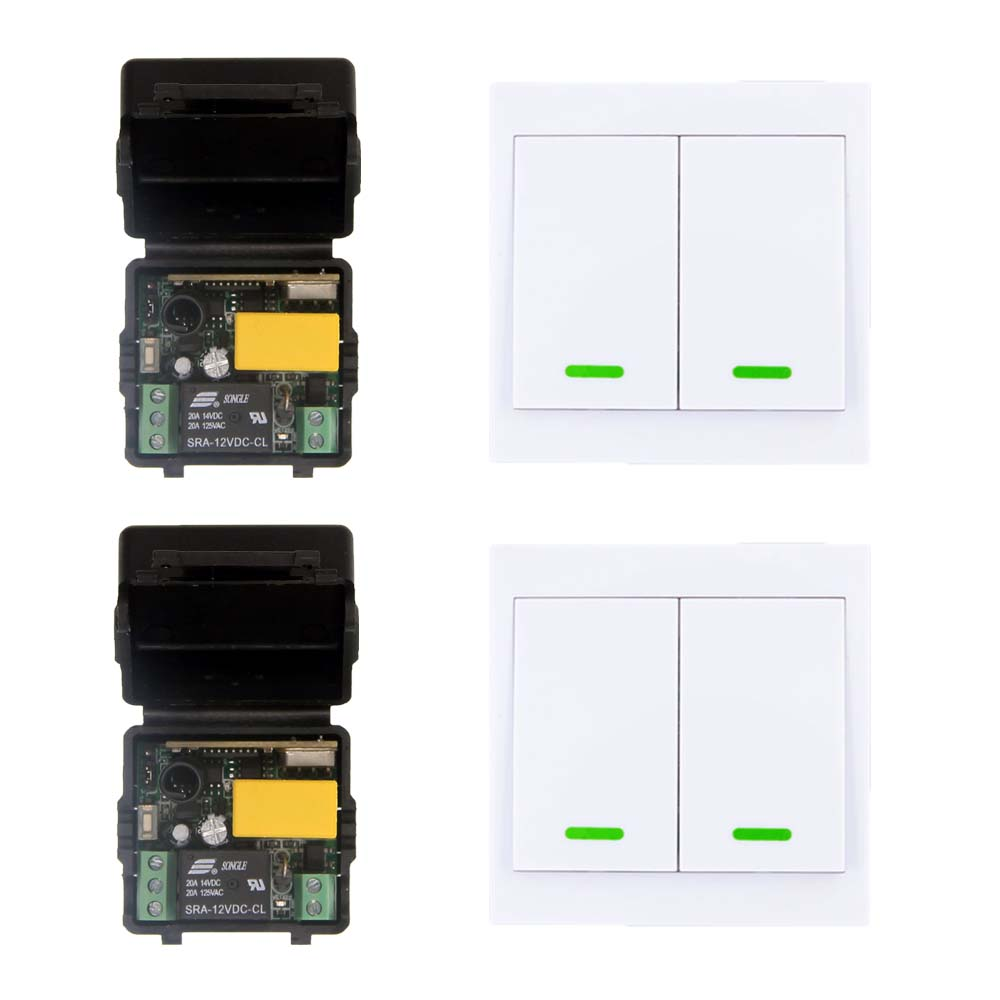 AC 220V 1CH RF Wireless Remote Control Switch System For LED Lamp Light Strips,Mini Receiver + 2CH 86 Wall Transmitter,Toggle dc12v rf wireless switch wireless remote control system1transmitter 6receiver10a 1ch toggle momentary latched learning code
