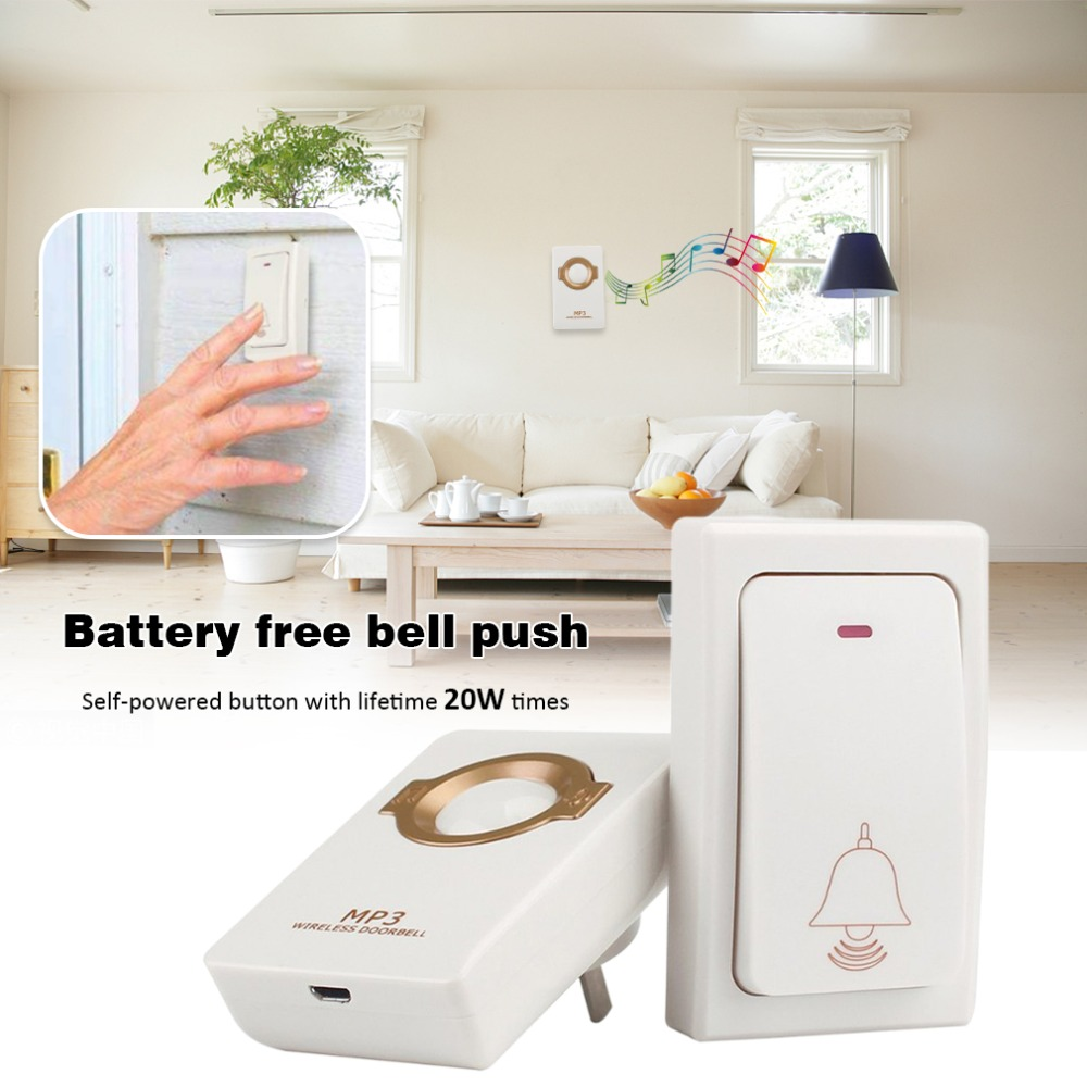 Wireless Self Powered Doorbell Chime Remote Button Operating up to 550 ft with 8 Level Volume Countless Chimes LED IndicatorWireless Self Powered Doorbell Chime Remote Button Operating up to 550 ft with 8 Level Volume Countless Chimes LED Indicator