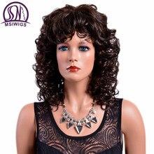MSIWIGS Dame Braun Lockige Synthetische Perücken mit Pony Hitze Beständig Afro Medium Ombre Perücke für Frauen