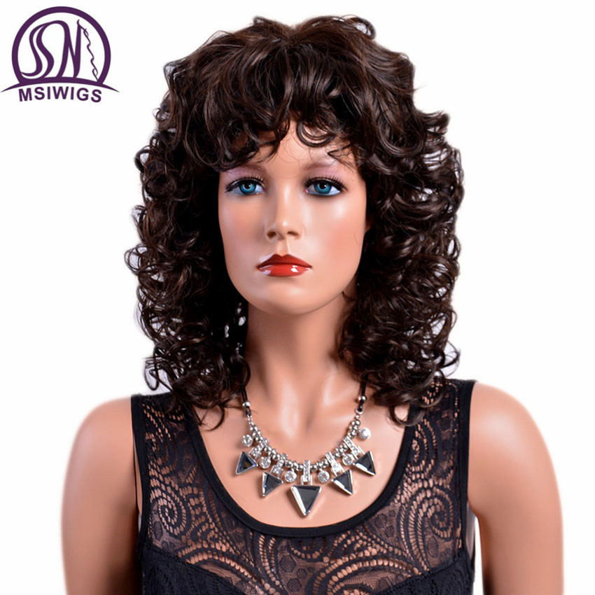 MSIWIGS Lady Brown Curly Synthetic Wigs With Bangs Heat Resistant Afro Medium Ombre Wig For Women