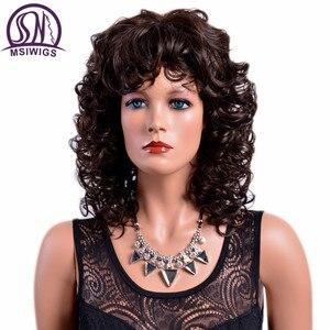 Image 1 - MSIWIGS 女性茶色のカーリー前髪耐熱アフロ中オンブルのかつら女性