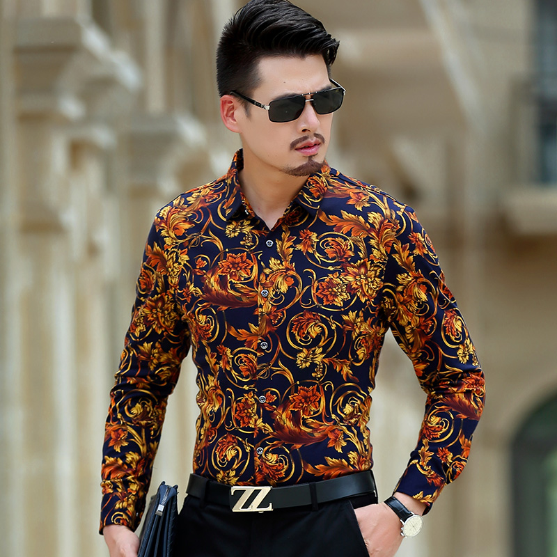 Luxury brand mens shirts vogue man shirt fancy men casual for Best dress shirts for big guys