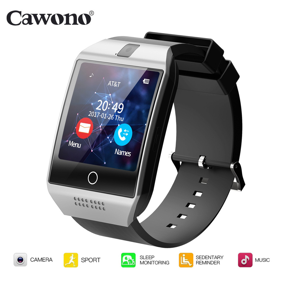 Cawono Q18 Bluetooth Smartwatch Fitness Tracker Montre Smart Watch Passometer pour iPhone Xiaomi Huawei Android Smartphone PK DZ09 GT08