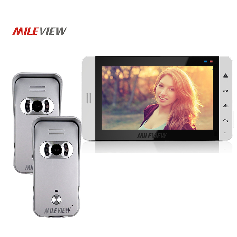FREE SHIP New Home Security 7 Wired Video Door Phone Intercom System Kit + 1 White Monitor + Two Night Vision Outdoor Camera