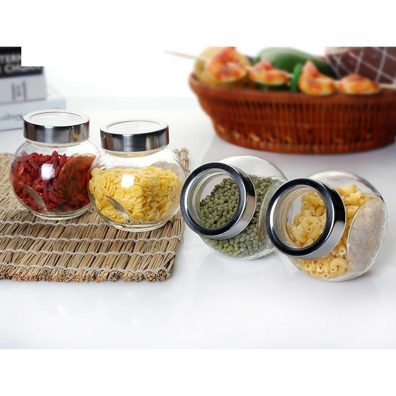 Accesorios de cocina Houmaid Frascos de almacenamiento de vidrio Alimentos / granos / mermelada / condimento / salsa Botellas selladas Macetas transparentes