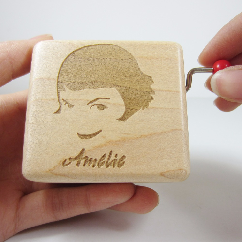 Handmade Smilelife Wooden Ameilie music box brand gift box, birthday new year Christmas gifts free shipping