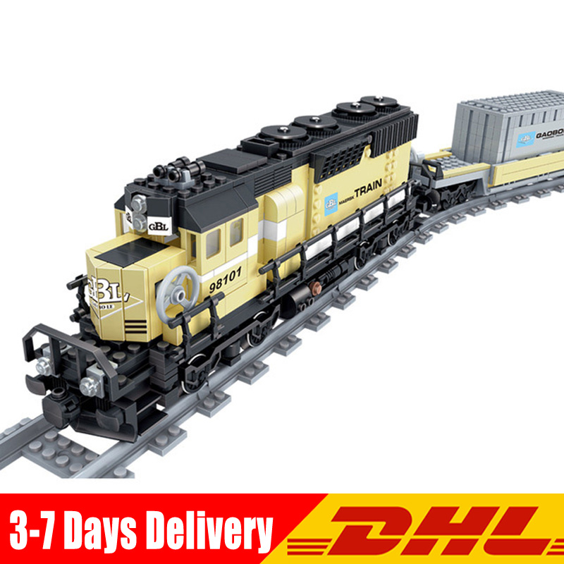 Kaizi 98101 885pcs City The Battery Powered Motorized Maersk Train Container Diesel-Electric Freight Train Bricks DIY Toys Gifts