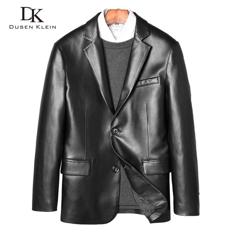 Luxury Leather Suits Genuine Sheepskin jackets and coatDUSEN KLEIN 2017 Brand Men Slim Business style Leather Jacket 71H936