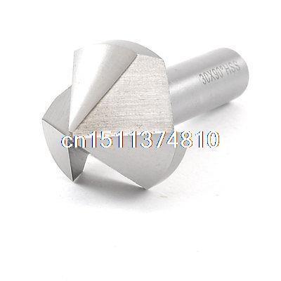12mm Shank 30mm Cutting Diameter HSS Chamfer Milling Cutter Bit Silver Tone