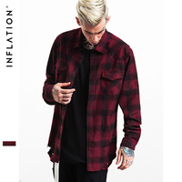 INFLATION 2016 New Mens Flannel Shirts Mens Hip Hop Mens Shirts Long Sleeve Hiphop Streetwear Mens