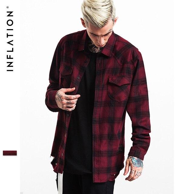 INFLAZIONE 2017 Autunno   Inverno Uomo Flanella Strappato Camicie Mens Hip  Hop Shirt Manica Lunga Strappato 857b63bd297e