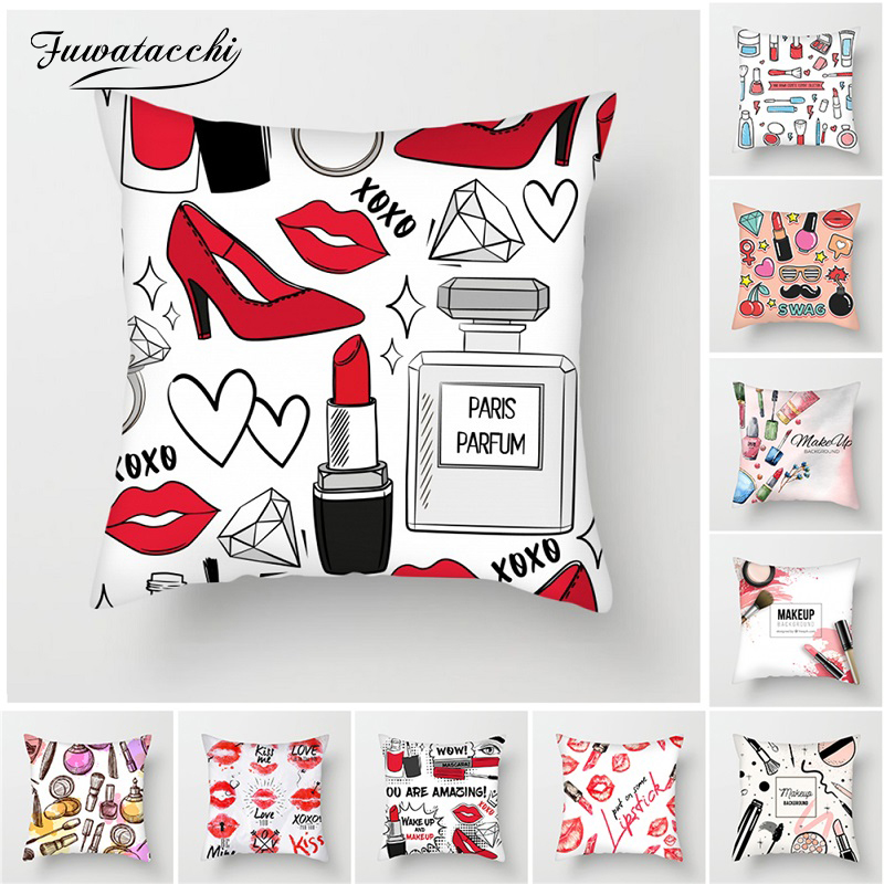 Fuwatacchi Lipstick Makeup Hand Painted Cushion Cover Perfume Bottles Pillow Cover for Sofa Home Chair Decoration