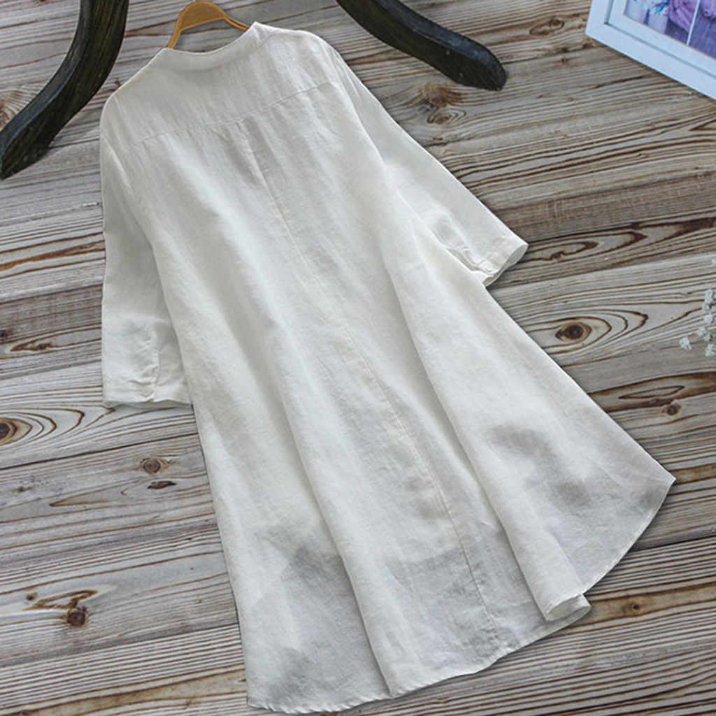 Vintage Vrouwen Shirts Blouses Dames Casual Knop Borduurwerk Lange Mouw Linnen En Katoen Onregelmatige Lange Tops Shirt Blouse 2020