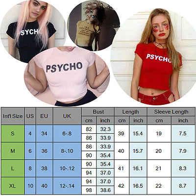 女性スリムショートシャツ綿サイコ文字の印刷トップ 2018 夏セクシーな半袖 Tシャツ