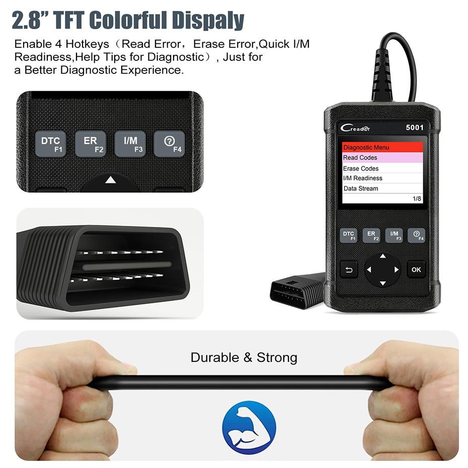 HTB1HsfGP7zoK1RjSZFlq6yi4VXaj Launch X431 CR5001 OBD2 Scanner Engine Code Reader ODB2 Car Diagnostic Tool Free Update Support full OBD2 Automotive Scanner