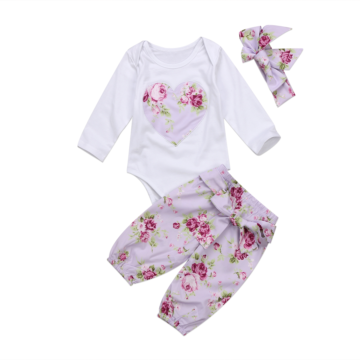 Pudcoco 3pcs Newborn Kid Baby Girl Floral Clothes Lovely Heart Jumpsuit Bodysuit Purple Pants Headband Outfits 0-24M