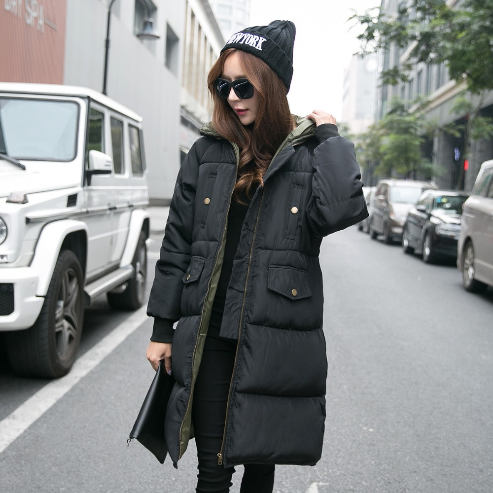 New Fashion Nice Winter Warm Wadded Jacket For Women Long Hooded Coat Vintage Cotton Padded Parkas Plus Size 2XL 2 Color HJ214 купить
