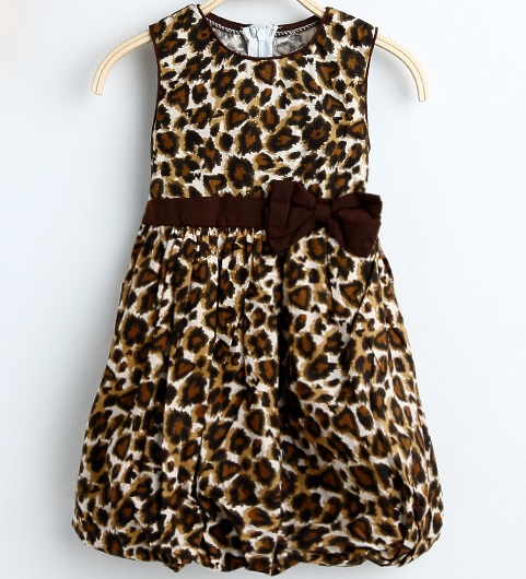 Summer Girl Dress 2 Layers Leopard Print Cotton Lantern