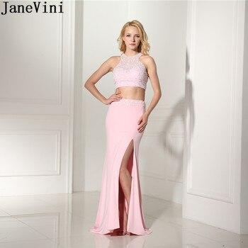 da25d9b108 JaneVini de dos piezas vestidos de dama de honor Rosa 2019 lateral sin  mangas cordón sirena elegante vestido para fiesta de boda