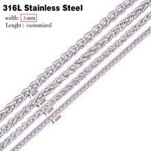 3,0 мм ширина 316L цепочка из нержавеющей стали мужская длинная панк массивная цепочка ожерелье винтажное мужское ювелирное изделие