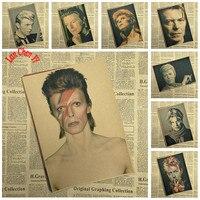 Vintage Rock Music David Bowie Kraft Paper Poster Cafe Creative wallpaper Interior Decoration Free Shipping