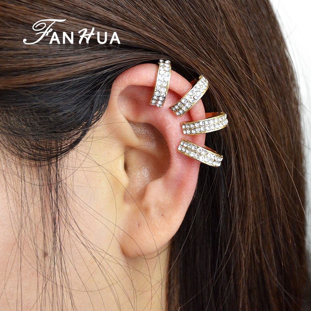 Fanhua 1 Pc Punk Ear Wrap Earrings No Piercingclip On Silver Color  Goldcolor With Full Rhinestone Ear Cuff For Women