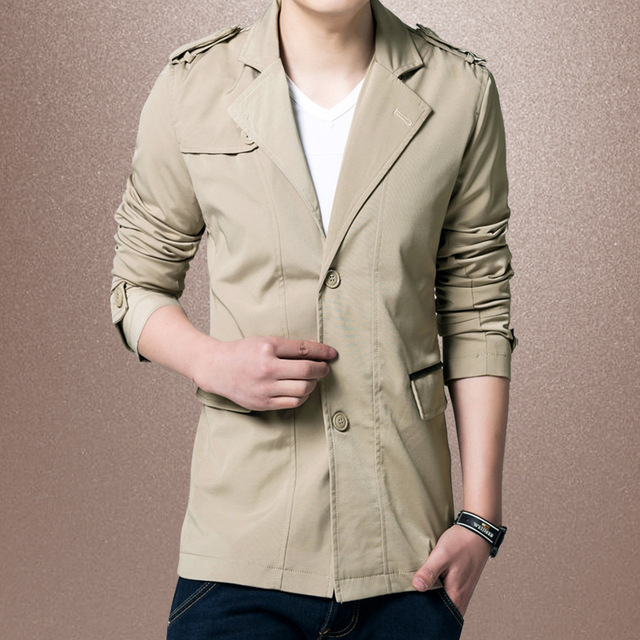 Men Spring Autumn Overcoat Men Slim Trench Solid Single Breasted Full Sleeve Mid Long Style Fashion High Quality Man Trench New
