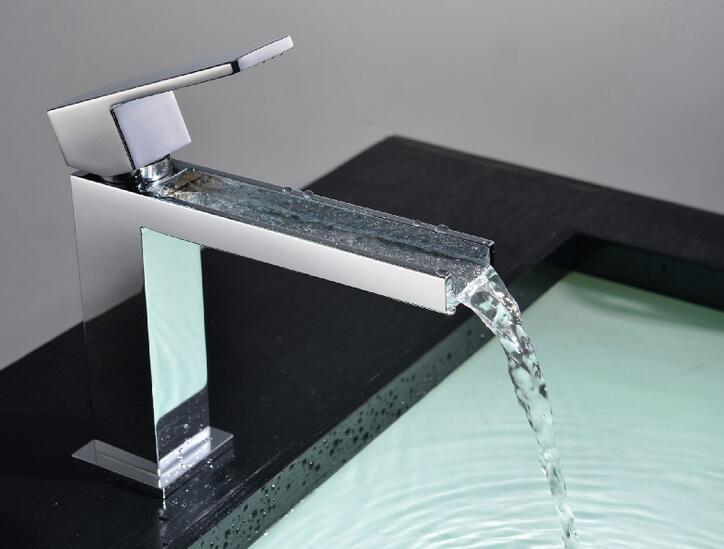 New Luxurious Exclusive Design Unique Shape Square Metal Single Lever Waterfall Faucet Lavatory Wash Wels Bathroom Mixer Tap цена 2017