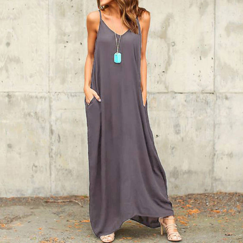 Vestidos 2016 Summer Style Women Boho Strapless Sexy V Neck Sleeveless Dress Casual Loose Long Maxi Solid Dress White Oversized
