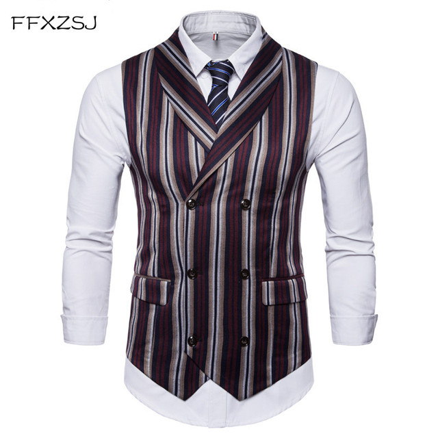 FFXZSJ 2018 New Men Suit Vest Plaid Fabrics Cotton Casual Wedding Tuxedo Formal Business Suits Blazer Costum Made Waistcoat Size