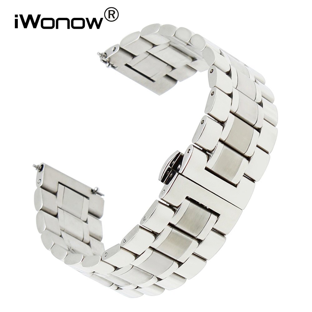 20mm 22mm Bracelet En Acier Inoxydable pour Citoyen Seiko Casio Hamilton Libération Rapide Montre Bracelet Bande Ceinture Noir argent Gris