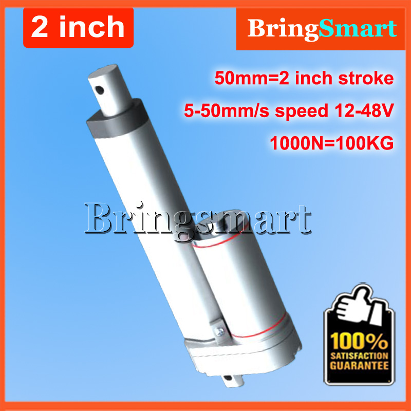 2Inch 50mm Stroke 12V DC Electric Linear Actuator 4-50mm/s 100KG Load 12-48V DC 1000N Heavy Duty Tubular Electric Motor 24V wholesale 12v linear actuator 150mm 6 inch stroke 7000n 700kg load waterproof 36v tubular motor 48v mini electric actuator 24v