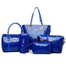 New 2016 Retro Vintage Women's Leather Handbags,handbag+shoulder bag+tote+clutch+wallet+key bag fashion 6 sets composite bag